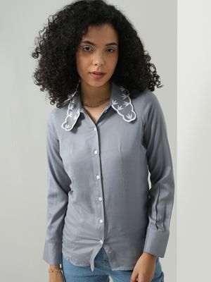 Blue Saint Embroidered Spread Collar Regular Fit Shirt