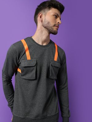 FUGAZEE Contrast Tape Utility Chest Pocket Sweatshirt