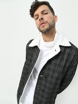 FUGAZEE All Over Checkered Faux Fur Coat