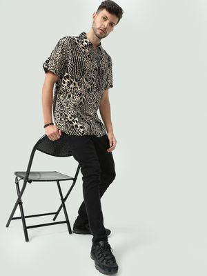 Oxolloxo Animal Print Short Sleeves Shirt