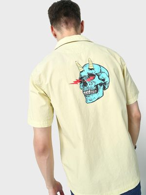 Blue Saint Skull Print Cuban Collar Shirt