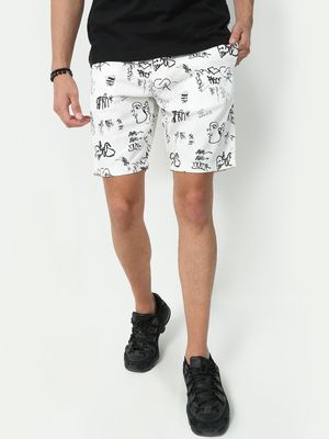 Blue Saint Elasticated Waist Doodle Print Shorts