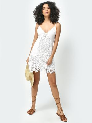KOOVS Floral Lace Detail Strappy Dress