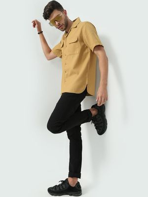 KOOVS Solid Twin Pocket Casual Shirts