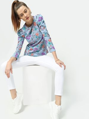 Blue Saint All Over Tropical Print Top