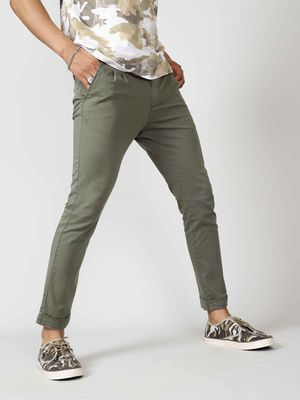 KOOVS Men's Tapered Fit Olive Trousers