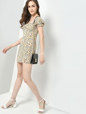 KOOVS Floral Print Off Shoulder Shift Dress