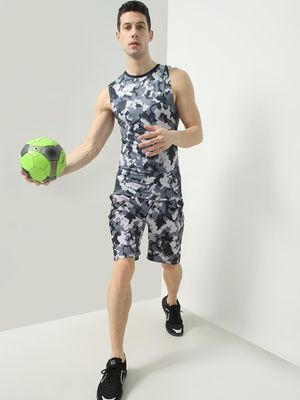 ONE/ZERO BY KOOVS Camo Print Sports Shorts