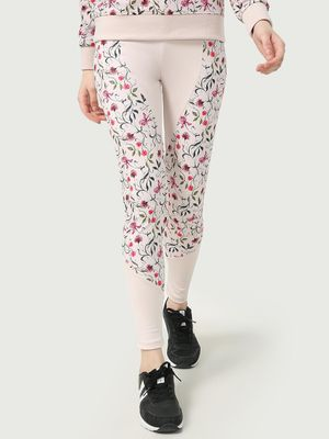 ONE/ZERO BY KOOVS Cut & Sew Floral Print Training Leggings