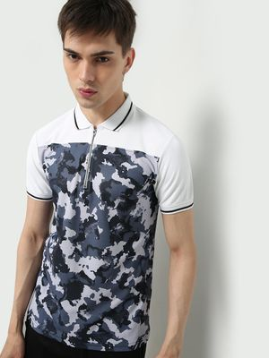ONE/ZERO BY KOOVS Athleisure Camo Print Polo Shirt