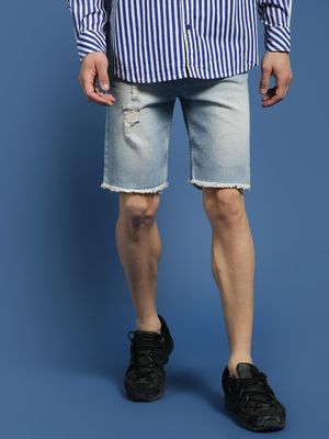 Blue Saint Frayed Hem Ripped Shorts