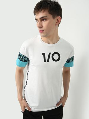 ONE/ZERO BY KOOVS Color Block Reflective Logo T-shirt