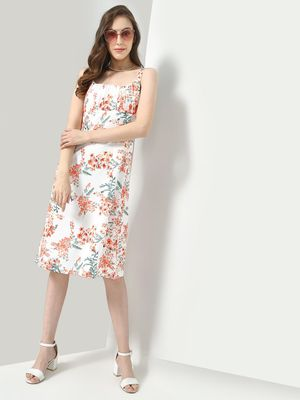 KOOVS Floral Print Strappy Midi Dress