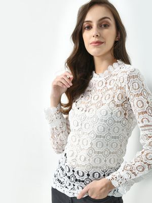 KOOVS Long Sleeves Lace Tunic Top