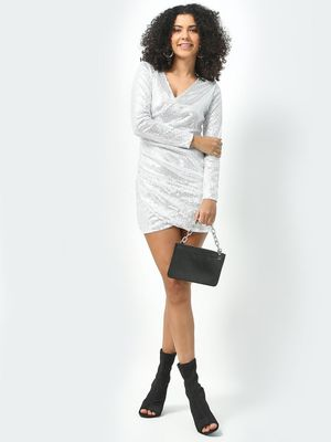 KOOVS All Over Sequin V-Neck Dress