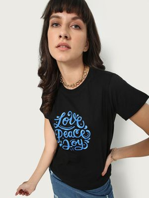 KOOVS Love Peace Joy Text Print T-shirt