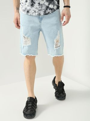 Blue Saint Ripped Casual Shorts