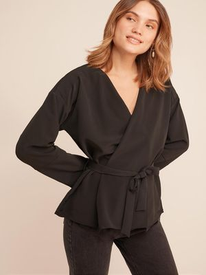 D'BASIC Bell Sleeve Wrap Blouse
