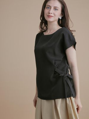 D'BASIC Side Tie-Knot Cap Sleeve Blouse