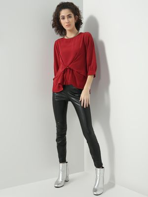 D'BASIC Solid Tie-Knot Top