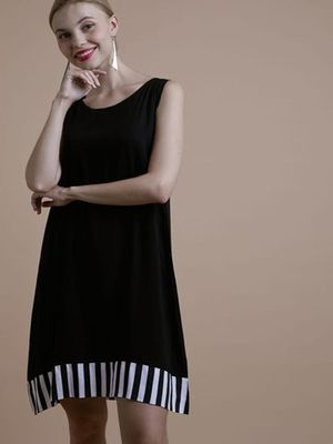 MERAKI Vertical Striped Border Shift Dress