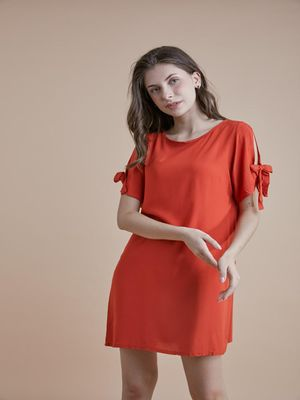 D'BASIC  Tie-Up Sleeve Dress