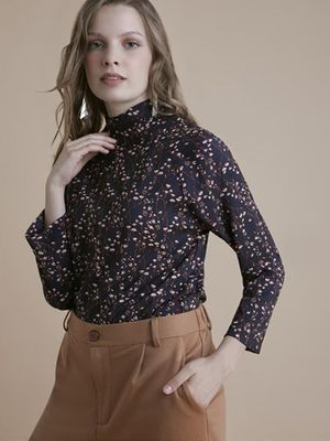 MERAKI High Neck Floral Print Blouse