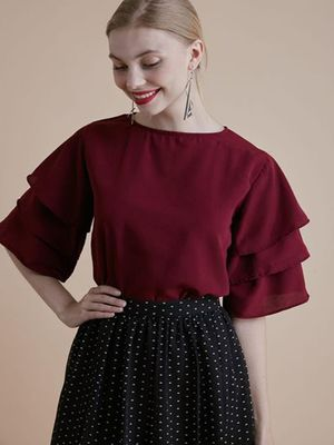 MERAKI Ruffle Round Neck Top