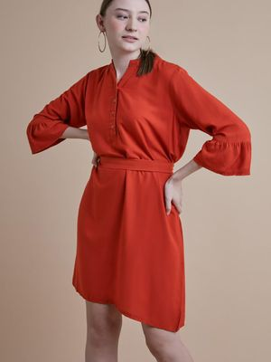 D'BASIC Bell Sleeve Mandarin Collar Dress