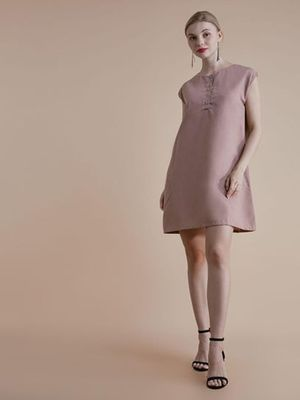 MERAKI Half Placket Shift Dress