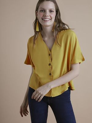 MERAKI V-Neck Button-Down Crop Top