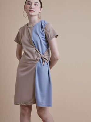 MERAKI Color Block Side Knot Shift Dress