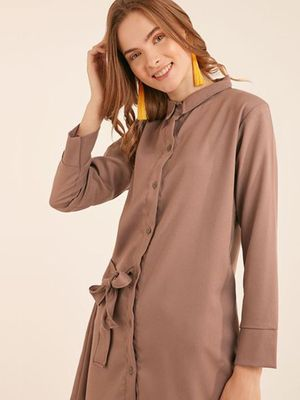 MERAKI Tie-Knot Shirt Dress