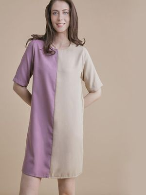 MERAKI Half And Half Mini Shift Dress