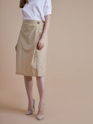 D'BASIC Button Single Pleated Midi Skirt