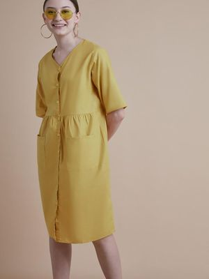 D'BASIC V- Neck Button Down Dress