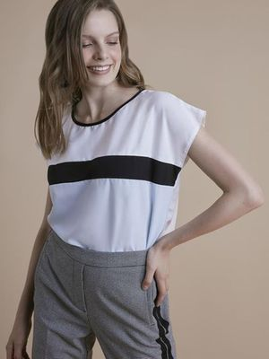 MERAKI Contrast Striped Colour Block Top