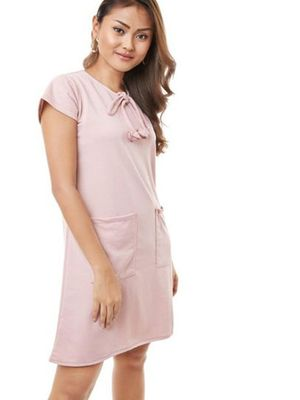 MERAKI Twin Pocket Neck Tie-up Dress