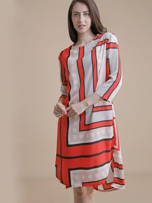 MERAKI Mixed Print Shift Dress