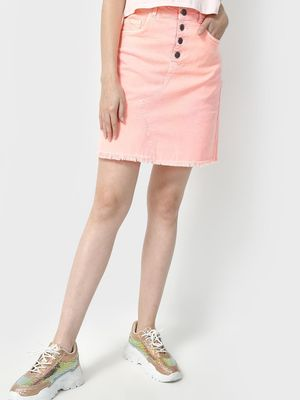 Freakins Frayed Detail Denim Skirt