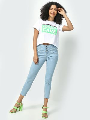 Freakins Light Wash Cropped Jeans