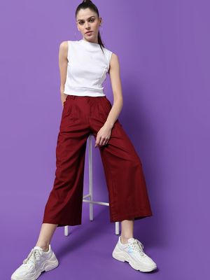 Freakins Basic Cropped Relaxed Fit Palazzo Pants