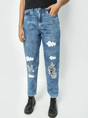 Freakins Distressed Cloud Print Boyfriend Jeans