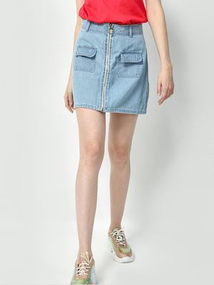 Freakins Light Wash Denim Mini Skirt