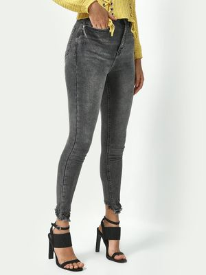 Freakins Distressed Mid Rise Jeans
