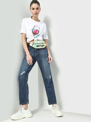 Freakins Light Distressed Straight Fit Jeans