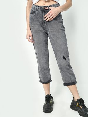 Freakins Distressed Cropped Regular Jeans
