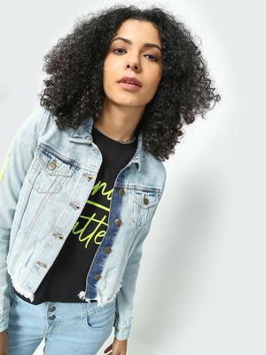 Freakins Back Ripped Cropped Denim Jacket