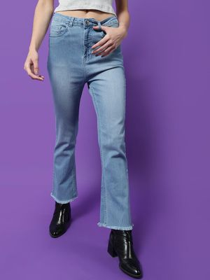 Freakins Light Wash High Waist Straight Fit Jeans