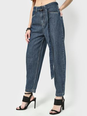 Freakins High Waist Belted Baggy Jeans